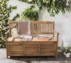 Safavieh Outdoor Collection Brisbane Teak Brown Storage Bench
