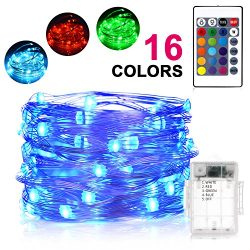 Sunnest Waterproof String Lights Outdoor, 16ft 50 LEDs Fairy Lights Battery Operated 16 Colors S ...
