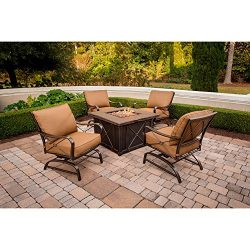 Hanover SUMMRNGHT5PC Summer Nights 5-Piece Patio Fire Pit Set Outdoor Furniture, 40″, Dese ...