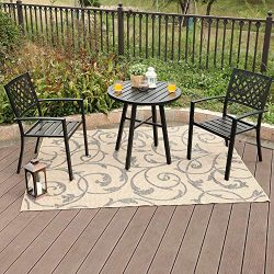 PHI Villa Metal 3 Piece Bistro Furniture Set 2 x Chair,1 x Table