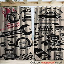 warmfamily Retro Drape for Pergola Car Repair Shop Logos Monochrome Car Silhouettes Best Garage  ...