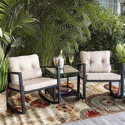 Barton Patio Rocking Chair 3pcs Set Patio Wicker Rattan Bistro Furniture Outdoor Rocker Chair Cu ...