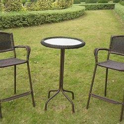 International Caravan Resin Wicker Bar-Height Outdoor Bistro Table Black