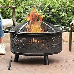 PHI VILLA 29″ Fire Pit Large Steel Patio Fireplace Chevron Cutouts Portable, Poker & S ...