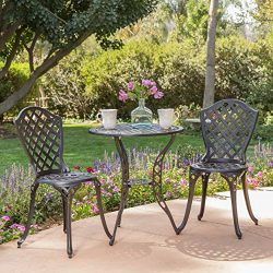 Lyon Black Bronze Metal Outdoor Bistro Set