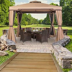 SUNCROWN Outdoor Garden Gazebo 10′ x 10′ Patios Gazebo All-Season Permanent Gazebo w ...