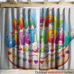 Kids Birthday Drape for Pergola Cartoon Style Happy Birthday Party Image Cake Candles Hearts Des ...