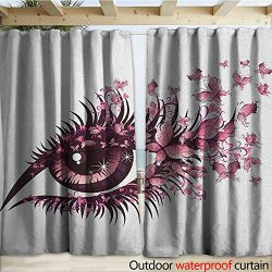 warmfamily Butterflies Drape for Pergola Fairy Female Eye with Butterflies Eyelashes Mascara Sta ...