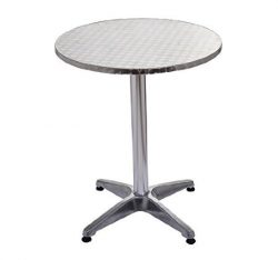 HOMCOM 24″ Round Adjustable Stainless Steel Top Aluminum Standing Bistro Bar Table