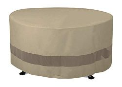 SunPatio Outdoor Fire Pit Cover, Patio Ottoman Cover, Round Table Cover 50″Dia x 24″ ...