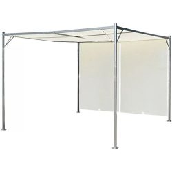 K&A company Pergola with Adjustable Roof Cream White Steel 9.8'x9.8′