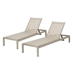 Great Deal Furniture Outdoor Aluminum Chaise Lounge Set (Set of Two)