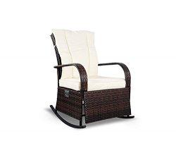 Mupater Patio PE Rattan Wicker Rocking Chair Auto Adjustable Patio Sofa Relaxing Lounge Chair Ou ...