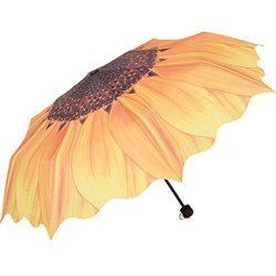 BAIYOU Sunflower Folding Umbrella Rain Umbrella Windproof Anti-UV Sunshade For Trip Outdoor(Yello)
