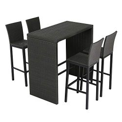 Patio Time Outdoor Furniture 5 Piece Pub Bar Table Set with 4 Bar Stools Chairs in Wicker PE Rat ...