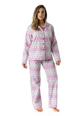 #followme 6371-10228-1X Printed Flannel Button Front PJ Pant Set