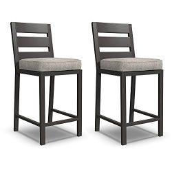 Ashley Furniture Signature Design – Perrymount Outdoor Bar Stool – Set of 2 –  ...