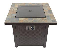 AZ Patio GFT-60843 30″ Propane Square Slate Fire Pit, Slate Top