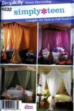 Simplicity Home Decorating Simplicity Teen Canopies for Twin & Full Size Beds Sewing Pattern ...