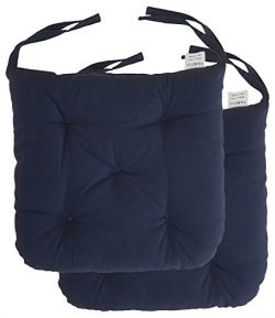 "Cottone 100% Cotton Chair Pads w/Ties (Set of 2)| 16"" x 16"" Square Round 