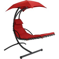 Sunnydaze Floating Chaise Lounger, Outdoor Hanging Hammock Patio Swing Chair with Canopy and Arc ...