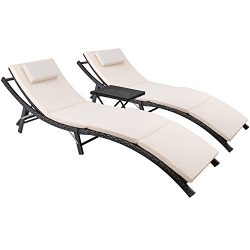 Devoko Patio Chaise Lounge Sets Outdoor Rattan Adjustable Back 2 Sets Cushioned Patio Folding Ch ...