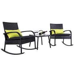 FurniTure Outdoor Wicker Bistro Set 3 Piece Rocking Patio Rattan Bistro Set Garden Wicker Rattan ...