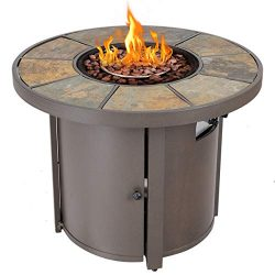 Giantex 32″ Round Propane Gas Fire Pit Table 50,000 BTUs Heater Outdoor Table w/Lava Rock  ...