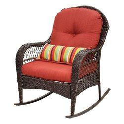 COLIBROX–Outdoor Wicker Rocking Chair Porch Deck Rocker Patio Furniture w/ Cushion New Die ...
