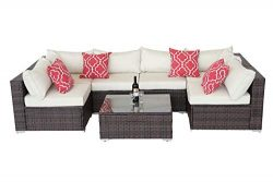 Do4U Patio Sofa 7-Piece Set Outdoor Furniture Sectional All-Weather Wicker Rattan Sofa Beige Sea ...