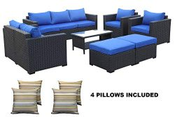 Outdoor PE Wicker Rattan Sofa -7 Pcs Patio Garden Sectional Conversation Cushioned Seat Couch Fu ...