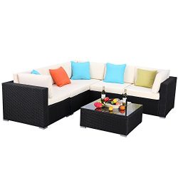 Do4U Patio Sofa 6-Piece Set Outdoor Furniture Sectional All-Weather Wicker Rattan Sofa Beige Sea ...