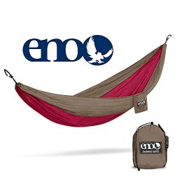 Eagles Nest Outfitters – ENO DoubleNest Hammock, Portable Hammock for Two, Khaki/Maroon (FFP)