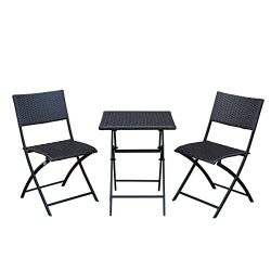 SunLife Bistro Sets, Outdoor Folding Table with Chairs Set, Foldable Patio Bistro Garden Party B ...