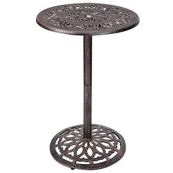 Casart Bar Table and Stool Set Cast Aluminum Vintage Retro Design Patio Outdoor Garden Bistro Fu ...