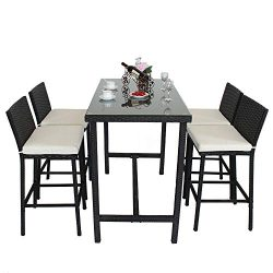 Leaptime Patio Bar Set Furniture Dining Set Rattan 5pcs Table Chairs PE Wicker Bar Set Stools Ta ...