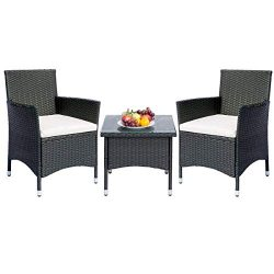 Leisure Zone 3 Piece Patio Set Outdoor PE Rattan Wicker Patio Furniture Bistro Sets Rattan Chair ...