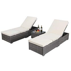 HTTH Outdoor Chaise Lounge, Easy to Assemble Chaise Longue, Thick & Comfy Cushion Wicker Lou ...