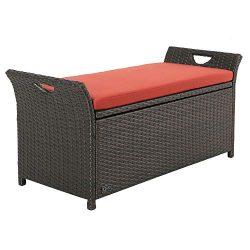 Ulax furniture Outdoor Storage Bench Rattan Style Deck Box w/Cushion