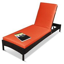 Outdoor Patio Adjustable Chaise Lounger Recliner Lounge Chair, Rust-Resistant Aluminum Frame, wi ...