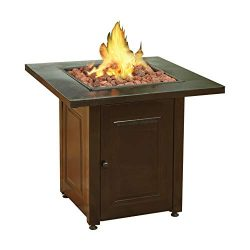 Viemoi Fire Pit Medium Square LPG Propane Fire Pit and Patio Heater Mat Black