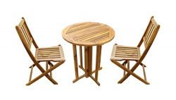 Amayo Home Solid Acacia Patio Bistro Set Furniture, 1 Folding Table & 2 Folding Chairs. Full ...