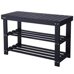 BEWISHOME Black Shoe Rack Bench,2 Tire Shoe Rack Entryway,Cubby Shoe Bench,Bamboo Shoe Shelf for ...