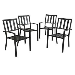Ulax furniture Outdoor Patio Dining Arm Chairs Steel Slat Seat Stacking Garden Chair Set of 4 fo ...