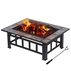 LAGRIMA 37″ Outdoor Metal Fire Pit Rectangular Table Backyard Patio Heater/BBQ/Ice Pit Gar ...