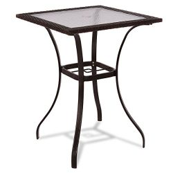 Anya Nana Patio Rattan Wicker Bar Square Table Glass Top Yard Garden Furniture Outdoor