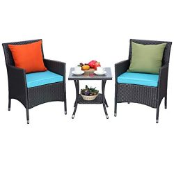 Do4U 3 Pieces Outdoor Patio Furniture Set Outdoor Wicker Conversation Set Cushioned PE Wicker Bi ...