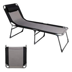 PPORTAL Folding Camping Cot Patio Beach Poolside Chaise Lounge Chair Bed Seat Height 15.75&#8243 ...