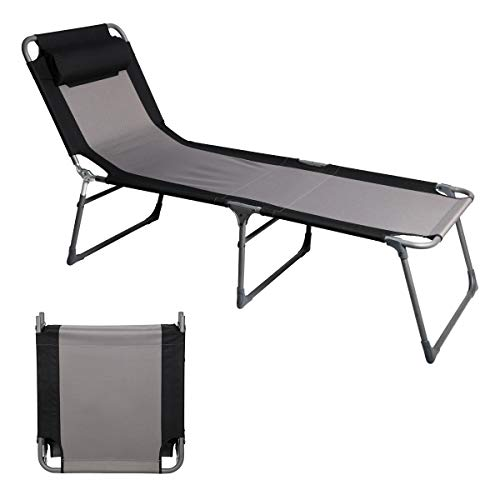 Pportal Folding Camping Cot Patio Beach Poolside Chaise Lounge Chair Bed Seat Height