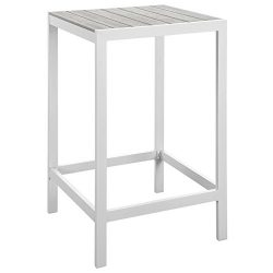 Modern Urban Contemporary Outdoor Patio Bar Table, White Light Grey Steel